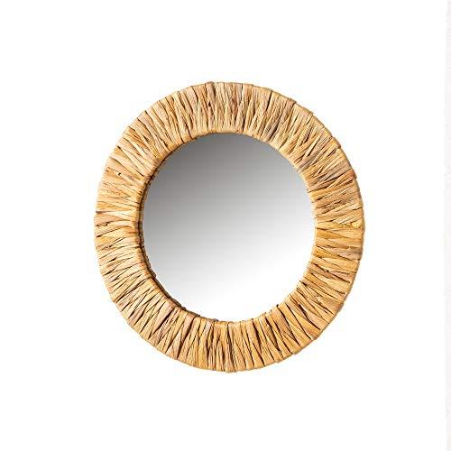 Espejo Acordonado Beige de Fibra Natural y Metal de 37x37 cm