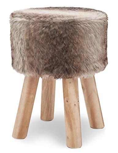 Suhu Fell Hocker Pouf Hocker Sitzhocker Sofa Puff Hocker Kleiner Fußbank Rund aus Massivholz Braun