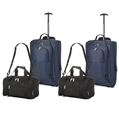 Set di 4 - (2) Trolley/Bagaglio a mano 55x40x20 e (2) Borsa da secondo bagaglio a mano in cabina 35x20x20 - Misure perfette per Ryanair (Blu Marina Militare - Nero)