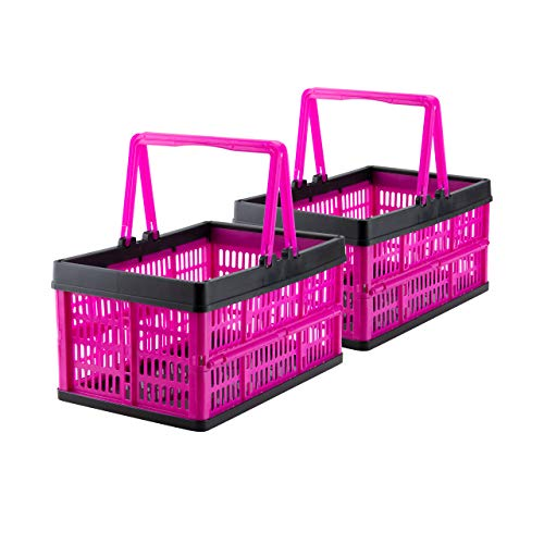 Grizzly 2 x Klappbox mit Griff - faltbar aus Kunststoff - Einkaufskiste klappbar und stapelbar 16L pink