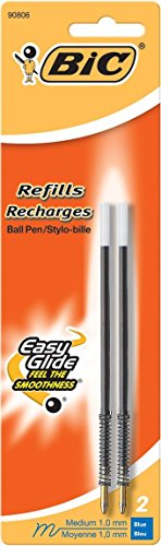 Value Pack of 6 BIC Standard Refills - Medium Point 1.0mm fits Wide Body, Velocity, XXL, Pro+, Reaction and AI, 6 Total Refills, Black (MRC21-Blk)