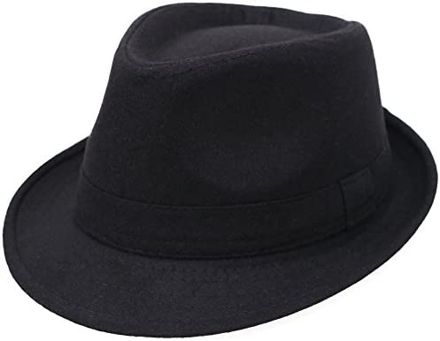 Men Women s Classic Wool Blend Structured Fedora Hat Black One Size 59cm product image