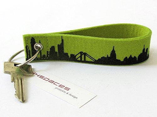 44spaces Schlüsselanhänger Frankfurt Loop - Feiner Wollfilz Fingernagelfreundlicher Verschluß - Kleines Dankeschön Gastgeschenk Einladung Richtfest Homeoffice (Grün)