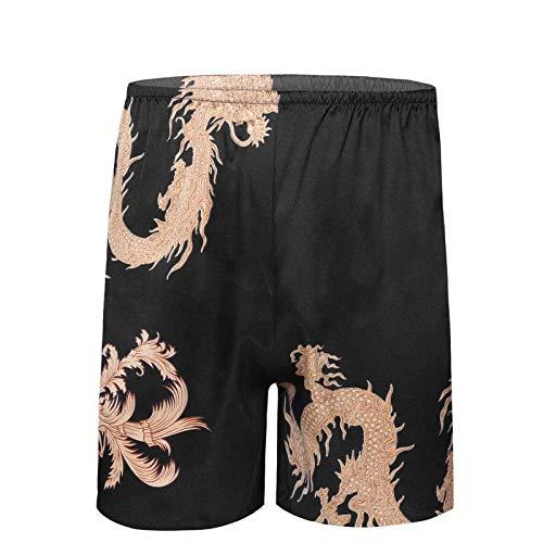Yeahdor Herren Boxershorts Satin Boxer Unterwäsche Locker Shorts Unterhose mit Drachen/Rhombus-Muster Schlafanzughose Loungewear Schwarz L