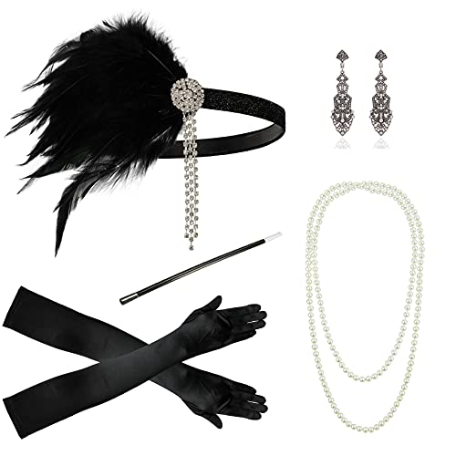 1920s Accessories for Women Headband Necklace Gloves Costume Holder Flapper Costume Accessories for Women