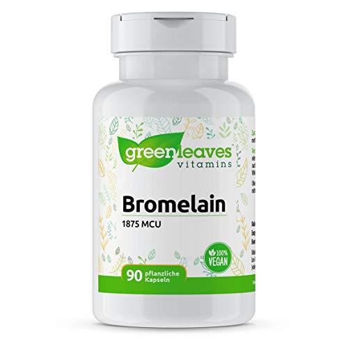 Greenleaves Vitamins - Bromelain 1875 mcu 90 Vegan Kapseln natürliches Ananas-Enzyme. Hochdosiert. Frei von Gluten, Soja und Konservierungsmitteln.