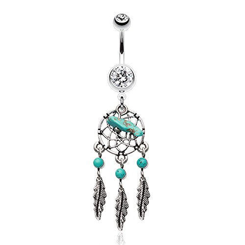 Turquoise Color Slab Classic Dreamcatcher Belly Button Ring - Sold Individually