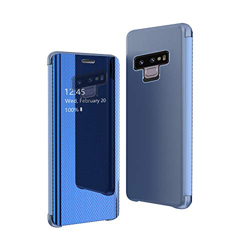 CrazyLemon Hülle für Samsung Galaxy Note 9, Dünn Leicht Flip Sichtbar Spiegel Schutzhülle PU Leder + Mikrofaser PC Hybrid Stoßfest Handyhülle - Blau