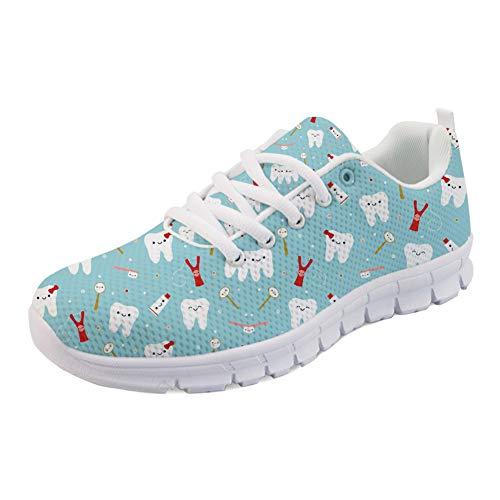 Coloranimal Road Running Sneakers für Frauen Mädchen Gut belüftete Wohnungen Grün Cartoon Zahnarzt Muster rutschfeste Gehen Einfach Gehen Wohnungen Lässig DailyShoes Tennis Schuhe EU Größe 39