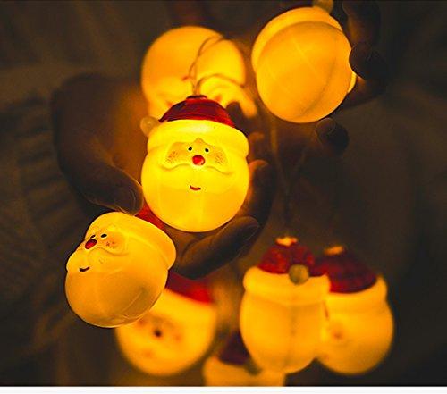 uirlande Lumineuse Noël, Morbuy Père Noël LED Lumineuse 1.5m/10 Lumières 2 AA Batterie Alimentation Pour Noël Patry Decoration Maison Etc (10LED /1.5m)