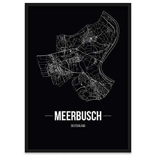 JUNIWORDS Stadtposter, Meerbusch, Wähle eine Größe, 40 x 60 cm, Poster mit Rahmen, Schrift B, Schwarz