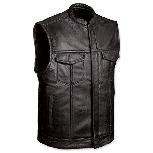 MEN'S MOTORCYCLE SONS OF ANARCHY BLK LEATHER VEST W/GUN CELL GLASSES POCKETS (L, MENS SOA BIKER LEATHER VEST)