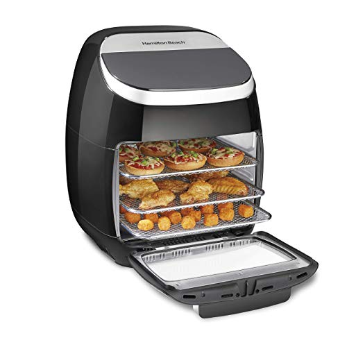 Hamilton Beach 11.6 QT Digital Air Fryer Oven with Rotisserie and Rotating Basket, 8 Pre-Set Functions including Dehydrator, Roaster & Toaster, 1700W, Black (35070) (Renewed)