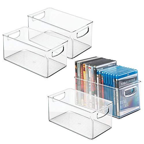 mDesign Cajas de almacenaje para CDs – Pack de 4 archivadores apilables para DVD, CDs o videojuegos – Porta CD transparente con asas