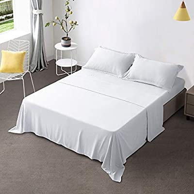 """Gonk White Bed Sheets Full Size Sheet Sets 4 Pieces 100% Durable Brushed Microfiber Sheets with 16"""" Deep Pocket Soft Breathable Wrinkle Free & Fade Resistant Bed Sheets and Cooling Sheets"""