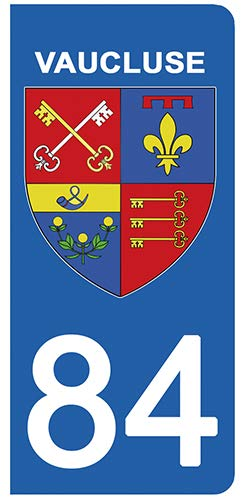 DECO-IDEES 2 Stickers pour Plaque d'immatriculation - 84 - Blason Vaucluse- Stickers Garanti 5 Ans