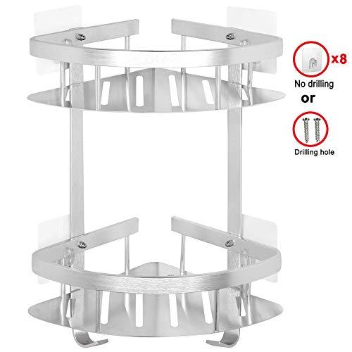 Yeegout Verdicken Badezimmer Eckregal Kein Bohrer, Aluminium Wandmontage Adhesive Shower Caddy Küche Lagerung (2 Tier)