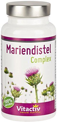 MARIENDISTEL COMPLEX, mit 80% Silymarin, hochdosiertes gemahlenes Mariendistelextrakt, Artischocke, Löwenzahnwurzel, Taurin und Cholin, Kombipräparat für Leber und Verdauung (60 Kapseln, Monatspack)
