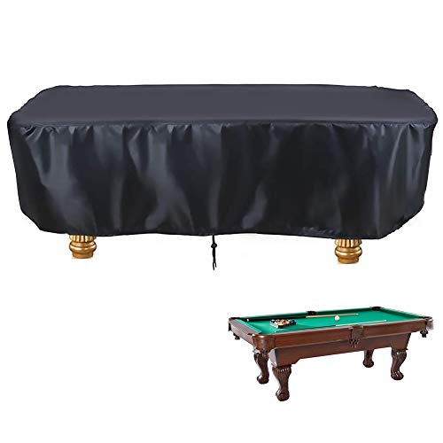 Flymer Waterproof Pool Table Cover for 7 8 9 FT Snooker Billiard Table, Durable Anti-UV Dustproof Outdoor Table Protective Cover with Drawstring (8FT - 102  L x 53  W x 32  H)