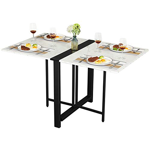 Tiptiper Folding Dining Table, Drop Leaf Table for Small Space, Folding Kitchen Table, Space Saving Dining Room Table, White Marble Veneer