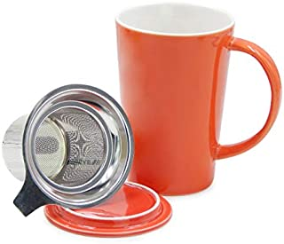 TOSSOW Ceramic Tea mug with Infuser and Lid 14oz Steeping Tea Cups Single Cup Loose Tea Brewing System Teaware with Filter...
