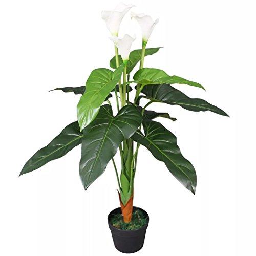 vidaXL Planta Cala Lilly Artificial con Macetero 85 cm Blanco Maceta Plástico