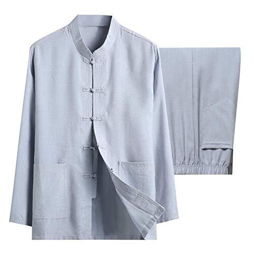 JY&WIN Conjunto de Tai Chi de Lino de algodón para Hombres - Dos Piezas Traje Tang Tradicional Chino Ropa de Artes Marciales Camisas Pantalones CM