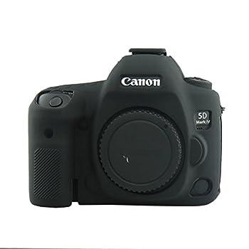 CEARI Flexible Silicone Case Camera Body Protective Cover Skin for Canon EOS 5D4 5D Mark IV Digital Camera + Microfiber Cloth - Black