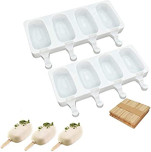 2 moldes de silicona para helados con 100 tallos de madera, sin BPA, reutilizables, para tartas, frutas congeladas, postres, chocolates