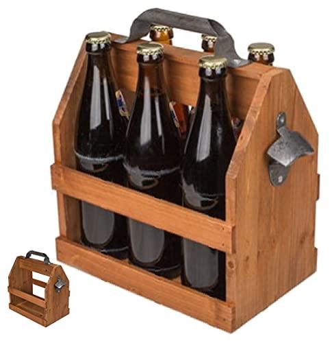 CBK-MS Holz Flaschenhalter Flaschenträger mit Metall Flaschenöffner Retro Bierträger für 6 Flaschen 0,5 L