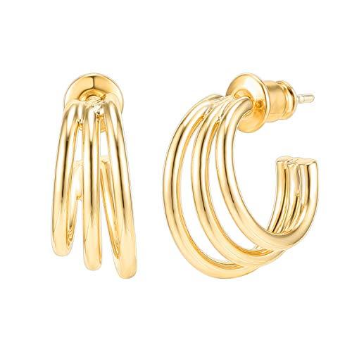 PAVOI 14K Gold Plated Sterling Silver Post Split Huggie Earrings | Yellow Gold Earrings for Women