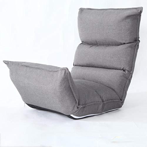 Huahua Furniture Bodenstuhl, Lounge-Schlafsofa Klappbarer 5-Positionen-Verstellbarer Hochlehner-Schlafsessel mit Futon-Matratzensitz (Color : Gray)