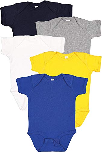 Rabbit Skins 5-Pack Multi-color 100% Cotton Infant Baby Rib Bodysuit (4400K) Hanukkah, NB