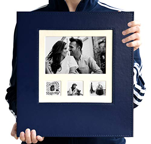 Zoview Art Magnetic Self-Stick Page Photo Album with Leather Cover for Wedding or Family, Hand Made DIY Albums Holds 3X5, 4X6, 5X7, 6X8,8X10 Photos (Blue, Large)