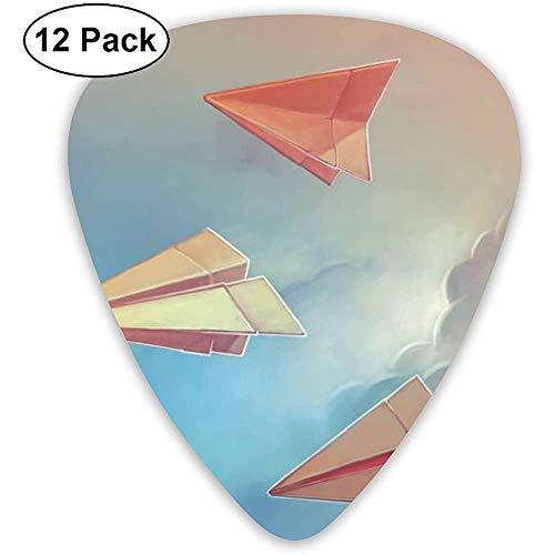 Origami-Gitarren-Plektren aus Papier für Flugzeuge 12 Pack-3, verschiedene Größen, einschließlich dünn, mittel und schwer