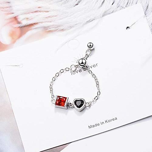 RVXZV Herz Zirkon verstellbare Kettenblätter für Frauen 925 Sterling Silber Schmuck Persönlichkeit Geschenkringe SAR71 Silber