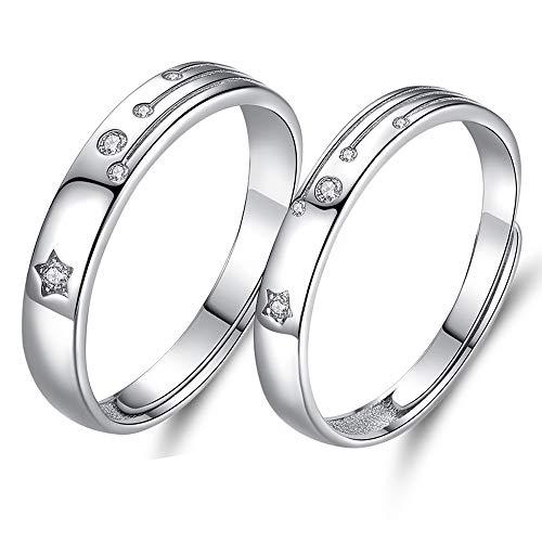 MIKAMU 愛の証 ペアリング ジュエリーレディースリング ハート メンズリング シルバー925 純銀製 星CZダイヤモンド キラキラ 結婚指輪 婚約指輪 2個セット 恋人 プレゼント (レディース)