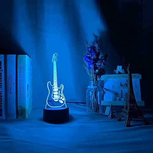 ZBHW Instrumento Musical Baby Night Light LED 7 Colores Cambiando Dormitorio Decoración Luz Guitarra Regalo para Niños Niñas Mesa USB Lámpara 3D Lámpara