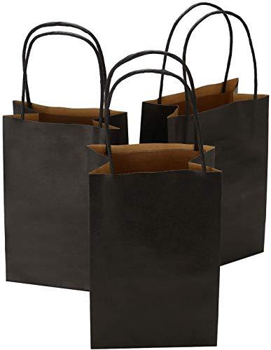Ronvir 5.25 x 3.25 x 8 Inches 100pcs Black Kraft Paper Bags with Handle, Shopping Bag, Retail Bag, Craft Bag, Merchandise Bag, Party Bag