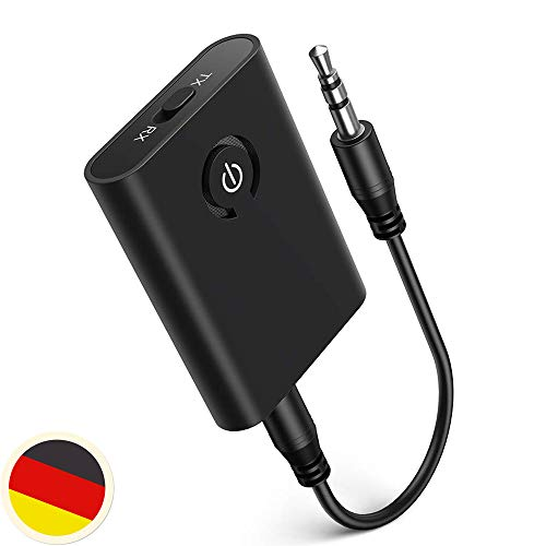 Bluetooth Transmitter Empfänger, 2 in 1 Mini Wireless Sender Empfänger, Bluetooth Audio Stereo Adapter mit 3.5 mm Aux,unterstützt aptX für Auto/TV/PC/Stereoanlage iPhone Samsung S10 Huawei Mate 20 P30
