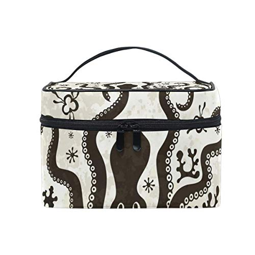 Vintage Octopus Cosmetic Bag Toiletry Travel Makeup Case Handle Pouch Multi-Function Organizer for Women-7S3