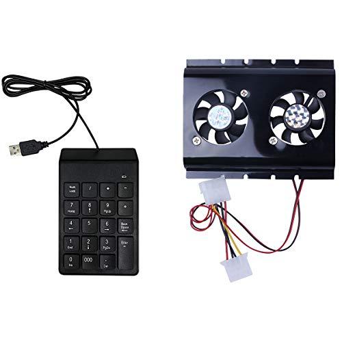 Xigeapg 1 Pcs Black 3.5 SATA IDE Hard Disk Drive HDD 2 Fan Cooler & 1 Pcs USB Keypad with 19 Keys Keypad Keyboard