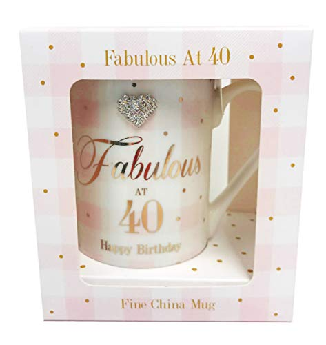 Fabulous 40th China Mug Age Happy Birthday Diamante Boxed Gifts Women for Her