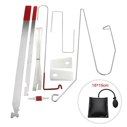 Luixxuer 10PCS Useful Car Repair Tools DIY Fix Hand Tools, Kit Universal Car Door Portable Car Vehicle Emergency Tool Kit + Air Pump
