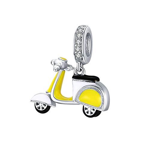 HMMJ Encantos de Plata S925 DIY Hecho a Mano La Vida Goteo de Aceite Motocicleta pequeña cuelgan el Grano por un Troll de Pandora Chamilia Pulsera del Encanto Collares