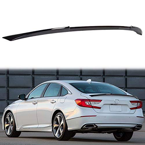 ECOTRIC Rear Trunk Lid Spoiler Wing Winglet Compatible with 2018 2019 2020 Honda Accord JDM Style V Type Black Painted