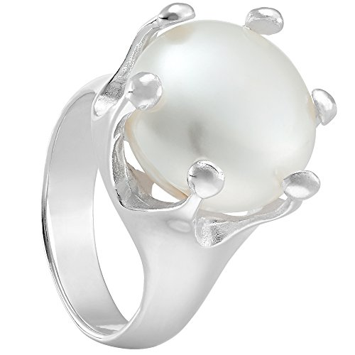 Vinani Ring Krone mit Natur Perle gefasst massiv glänzend Sterling Silber 925 Größe 60 (19.1) 2RKP-60