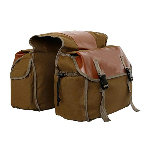 Touring Motorbike Saddle Bag Motorcycle Canvas Waterproof Panniers Box Side Tools Bag Pouch for Motorbike (Color Name : Khaki)