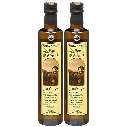 2 Flaschen - Papa Vince aus Sizilien - Natives Olivenöl, Kaltgepresst, 2019/2020 Ernte, Kräftiger geschmack mit einem Pfeffrigen Abgang. Reich an Polyphenolen. Exzellente Qualität