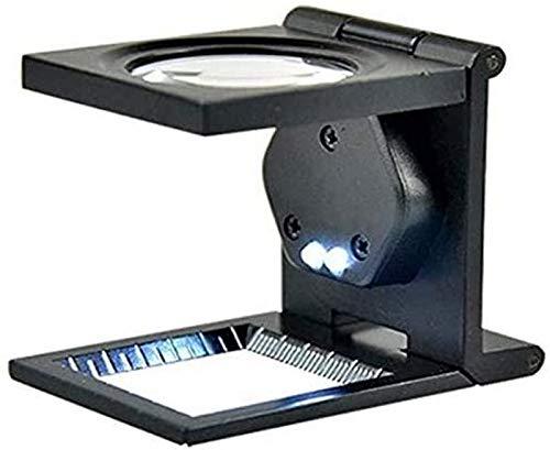 JJDSN Lupa Plegable de Metal 10X con 2 Luces LED |Lupa de Lectura para Trabajos cercanos Apreciación de Joyas Herramienta de Hobby Lupas